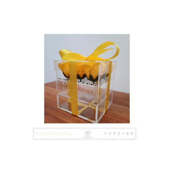 Luxus illatos sárga színű szappan rózsák exkluzív kristálytiszta plexi dobozban/9 db rózsa/kihúzható fiók plusz ajándéknak