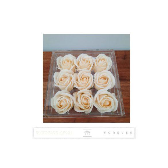 Luxus illatos törtfehér színű szappan rózsák exkluzív kristálytiszta plexi dobozban/9 db rózsa/kihúzható fiók plusz ajándéknak