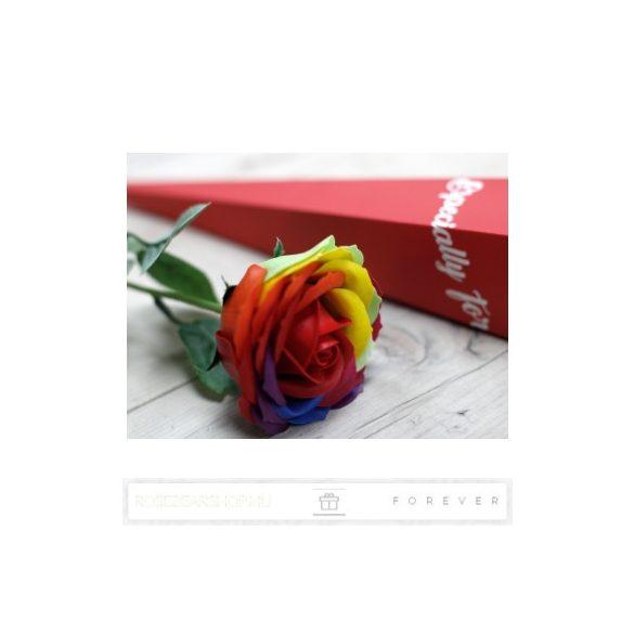 Luxus illatos szivárvány színű szappan rózsaszál egy exkluzív díszdobozban